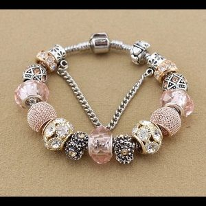 Jewelry - NEW silver plated glass rhinestone charm bracelet